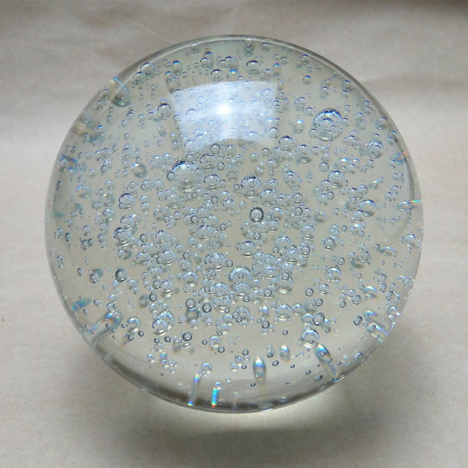 水晶球气泡玻璃球气泡球家装风水球透明色气泡均匀水晶工艺品摆件