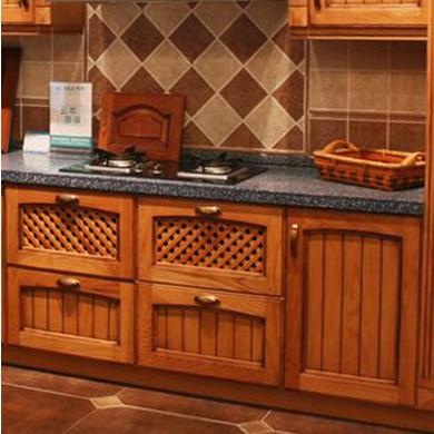 供应 橱柜定制欧式古曼纯实木柜体石英石台面橱柜整体宜家厨柜定做