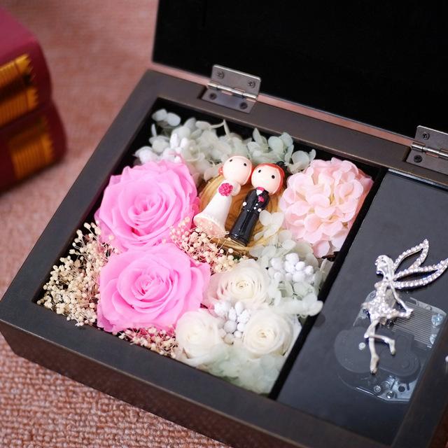 永生花音乐盒相框礼盒圣诞节礼品家居办公桌酒店摆件一件代发批发图片