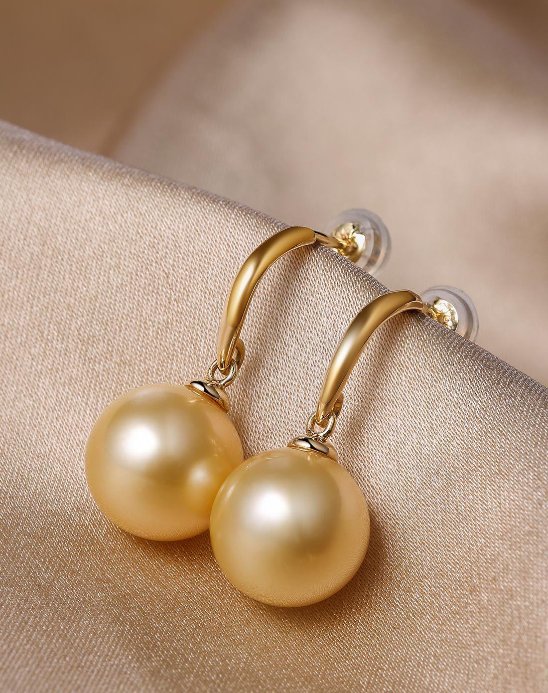 珍珠批發  南洋珍珠10-11mm南洋金色珍珠18K金耳釘