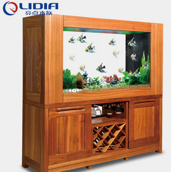 供应 亮点水族 乌金木实木鱼缸 超白玻璃中大型水族箱