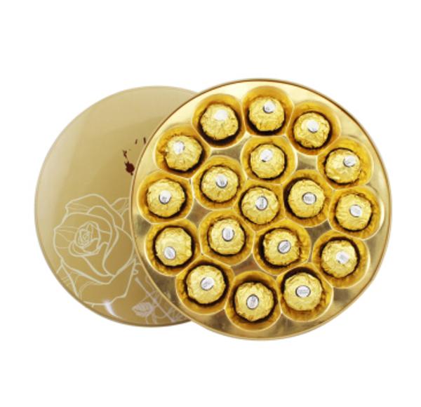 费列罗巧克力18粒礼盒装 平安夜圣诞节生日礼物 圆形金色款