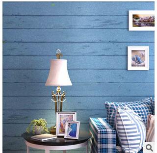 地中海无纺布墙纸 蓝色木纹卧室客厅电视背景墙条纹