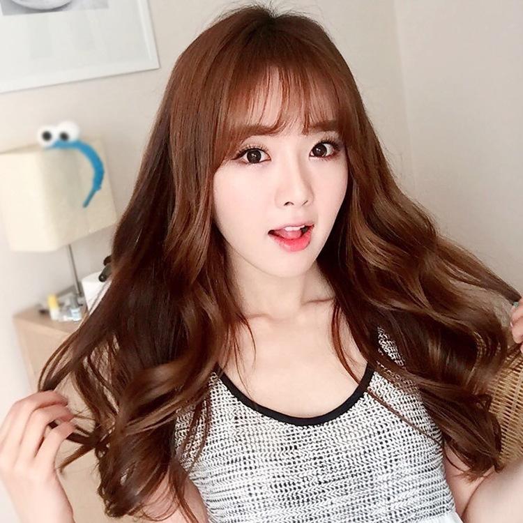 时尚网红整顶假发女长卷发韩国空气刘海中长梨花头假发套一件代发图片