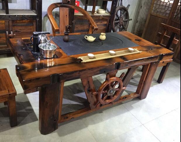 老船木实木功夫仿古茶桌 厂家直销成套茶桌椅组合