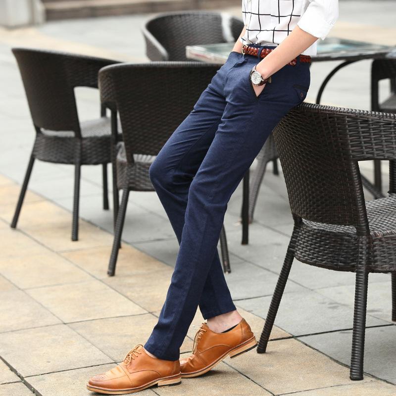 休闲裤 男 春季男士弹力休闲裤裤子韩版修身直筒长裤青年小脚裤男