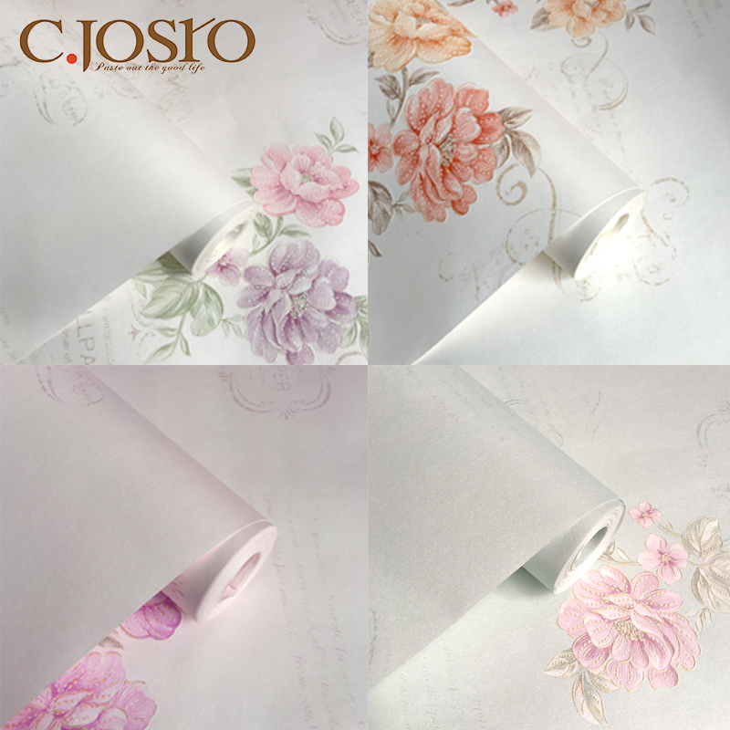 草庄诗朗墙纸壁纸欧式印花纯色卧室客厅电视背景墙6801