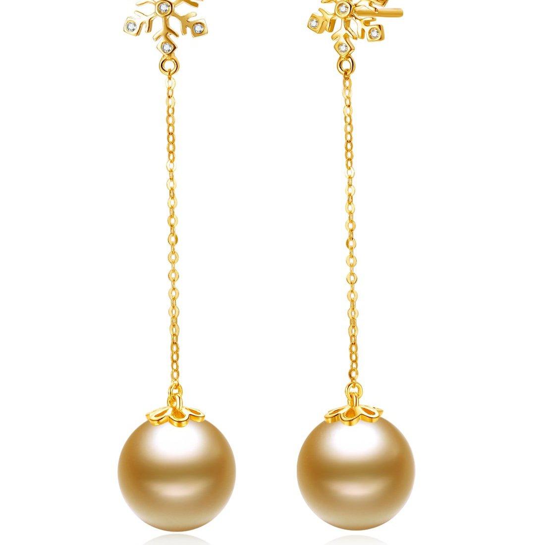 北海珍珠耳环批发  南洋珍珠  11-12mm南洋金珍珠18K金钻石耳饰 珍珠 耳环 耳饰