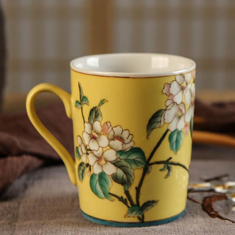 供应新中式创意有柄手绘陶瓷杯情侣杯卫浴用品漱口杯陶瓷杯子厂家定做
