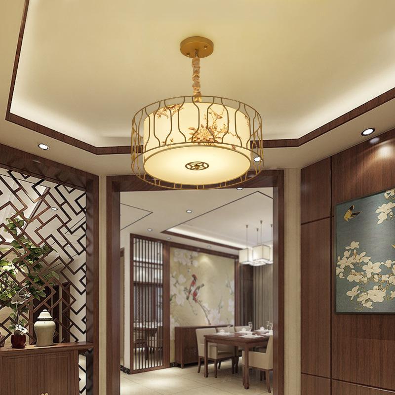 简约新中式吊灯 手绘布艺吊灯茶楼客厅灯具复古铁艺装饰餐厅吊灯图片