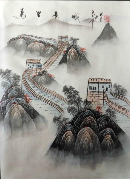 国画字画长城山水画北京厂家特供