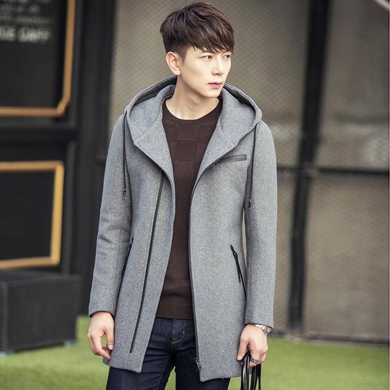 冬季中長款青年男士風衣韓版修身呢子連帽大衣休閑外套 男裝潮圖片