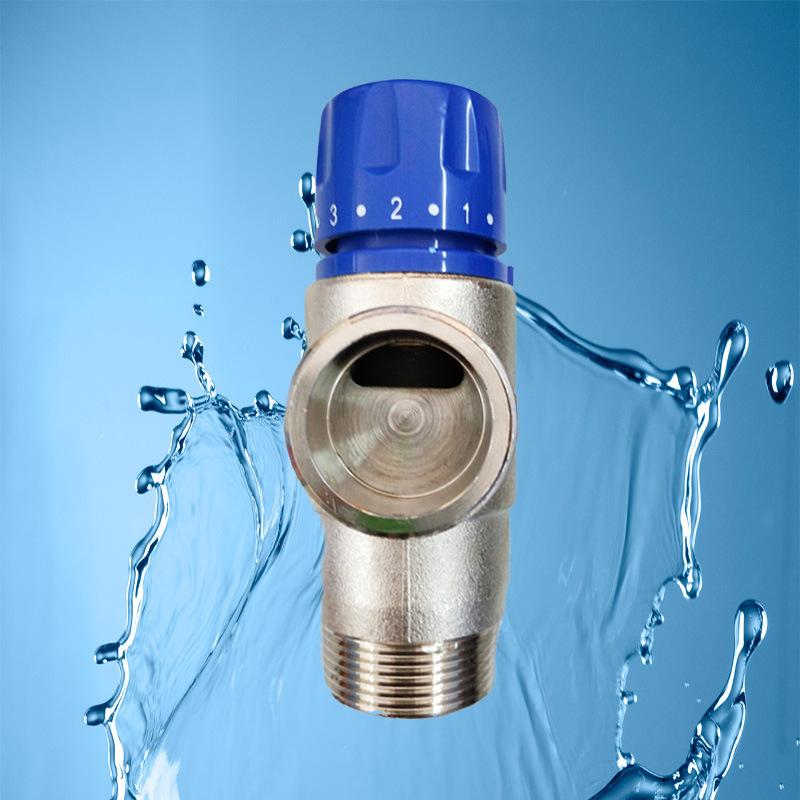 厂家批发dn32全铜管道恒温阀 淋浴自动调温三通混水阀图片