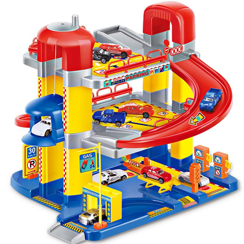 中盛男孩立体多层停车场玩具轨道套装合金汽车轨道套装儿童玩具