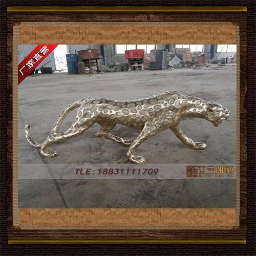 铜豹子雕塑 厂家直销铜奔豹子 铸造动物铜雕塑 花纹豹铜像批发