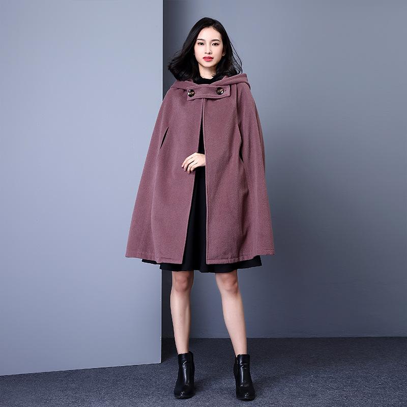 秋冬大碼羊毛斗篷外套大衣女毛呢寬松披風披肩斗篷中長款呢子連帽圖片