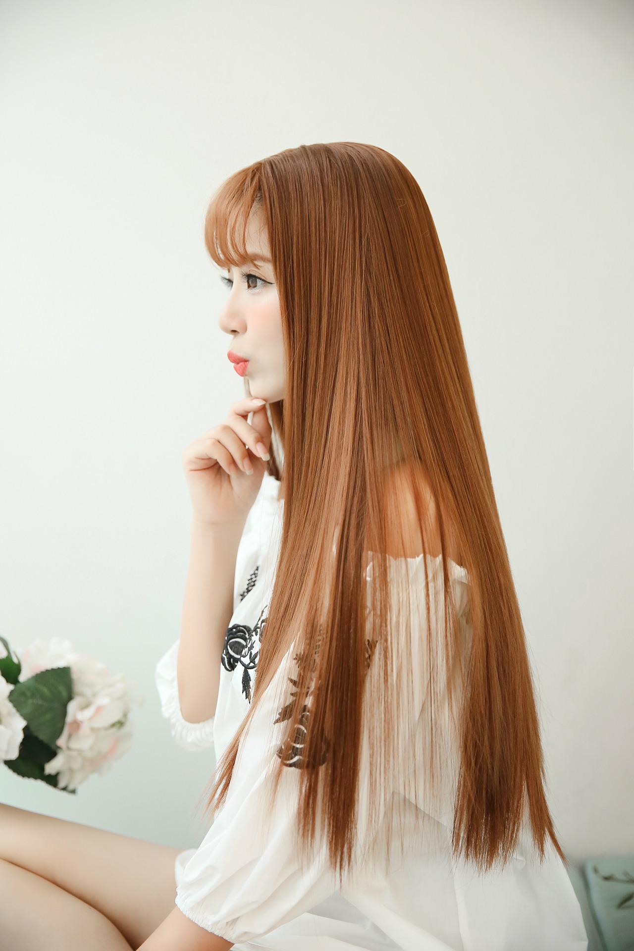 蛋白丝假发女 热销空气刘海直长发图片