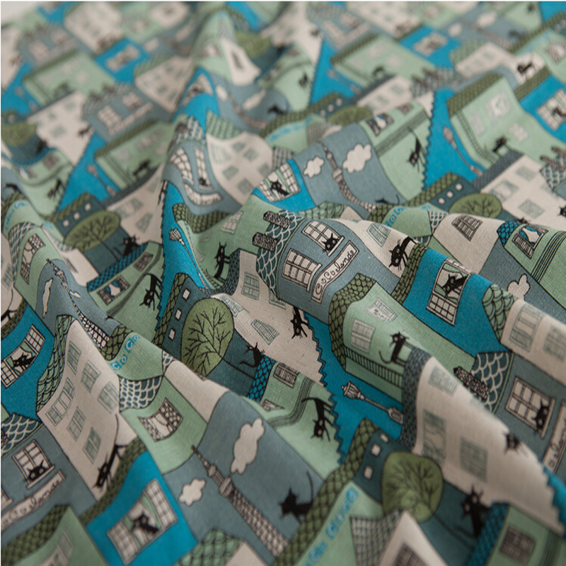 供应 新款热卖日韩风格棉麻印花布 现货供应 绿色小房子 批发