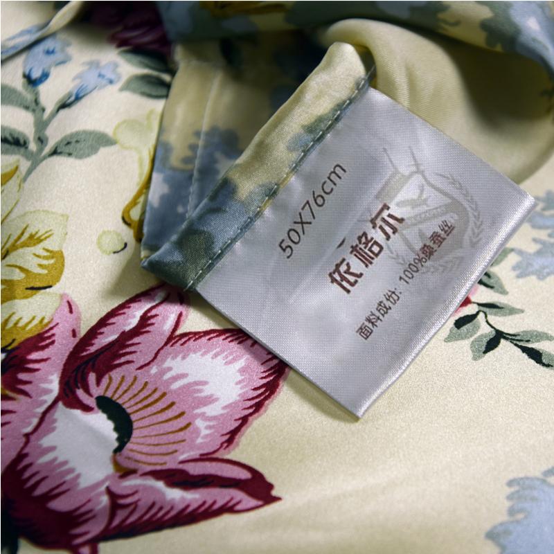 【一枕黄粱】依格尔 真丝枕巾枕套 100%桑蚕丝绸系带单面单只枕头套 四季单人枕芯套50×76cm