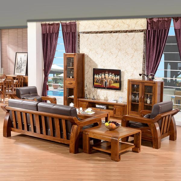 头层牛皮真皮沙发全实木沙发纯榆木沙发中式客厅组合家具厂家直销图片