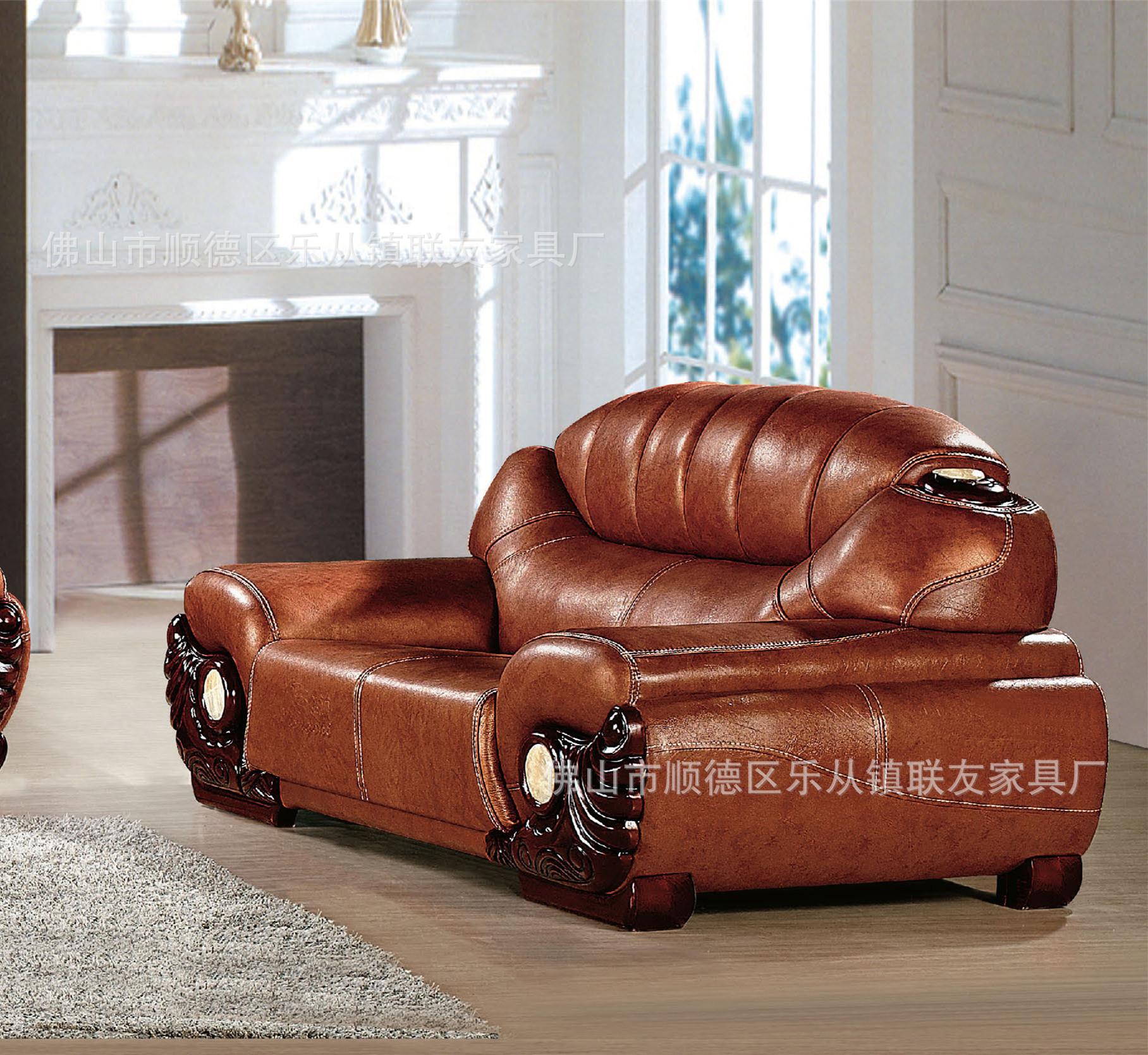 中式牛皮沙发专业生产 高档牛皮沙发 酒店沙发中厚皮a101图片