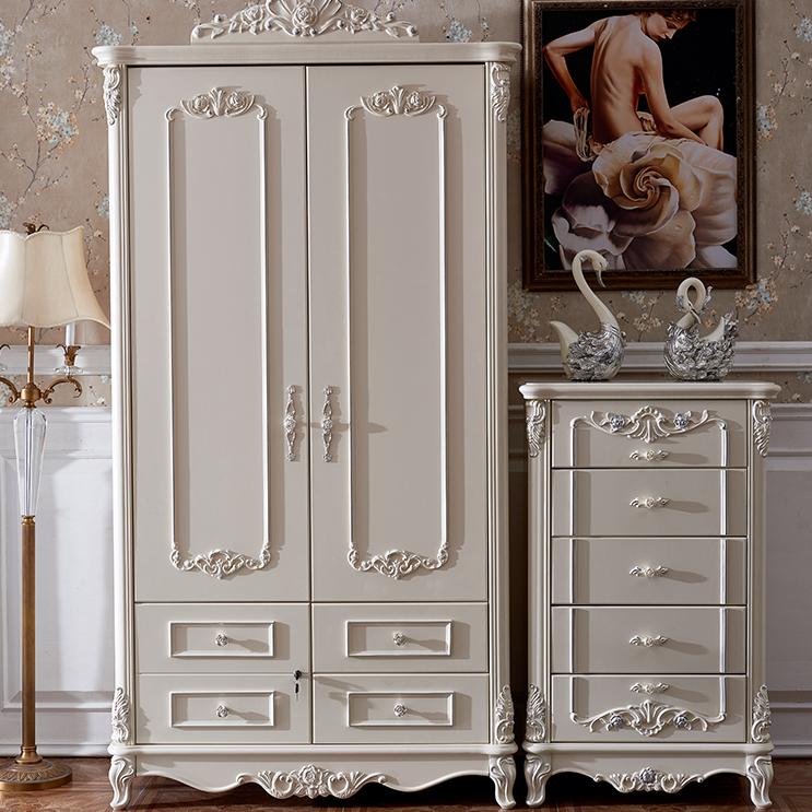 三门单门柜欧式衣柜田园双开门木制斗柜类小白色雕花