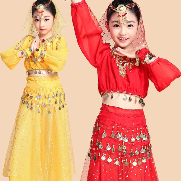 厂家批发六一儿童舞蹈服肚皮舞演出服印度舞新疆舞练功服亮片裙女