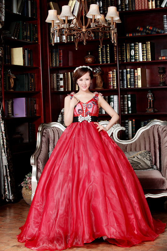 新款2015韩版影楼主题摄影 舞台演出 主持蓬蓬裙 长礼服