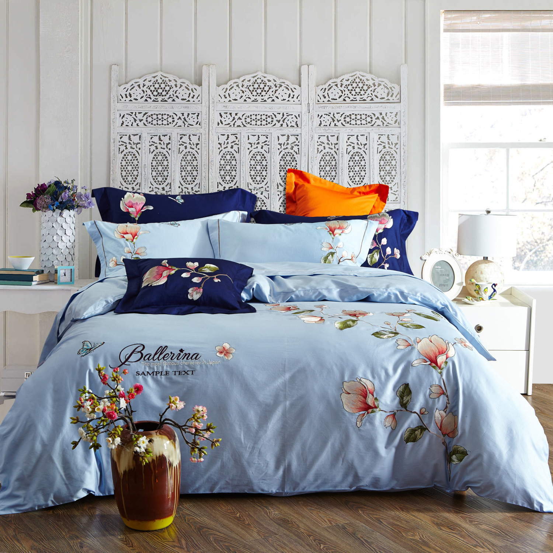 厂家直销春夏新款清新长绒棉纯棉刺绣床上用品四件套
