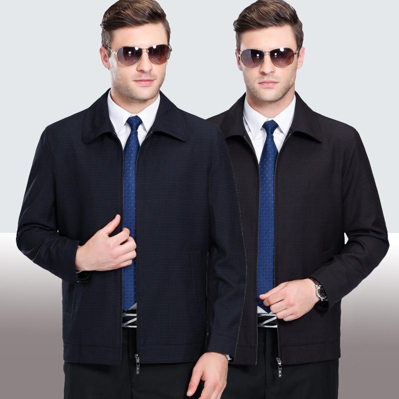 品牌男裝中老年男式秋冬加厚大碼中年男士羊毛夾克商務休閑外套圖片