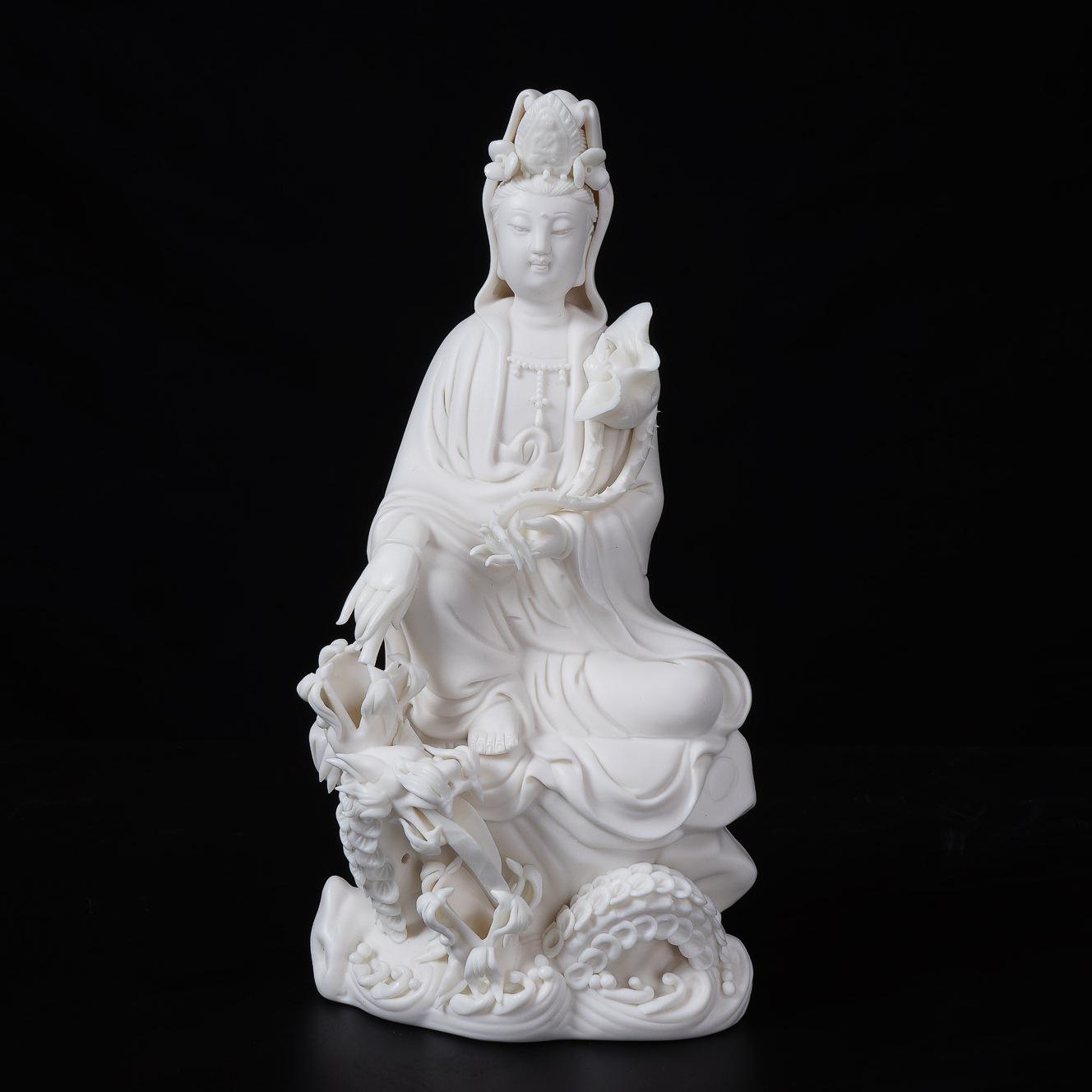 观音佛像礼品 德化白瓷陶瓷工艺品 小三龙滴水观音瓷器摆件可定制