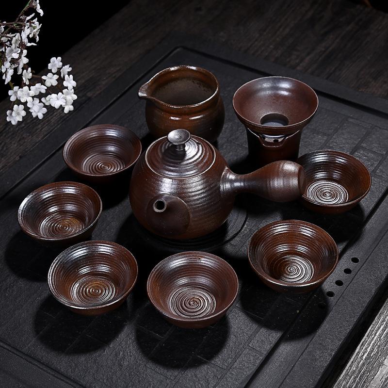 古陶手工拉坯柴烧粗陶功夫茶具复古茶壶茶杯茶海陶瓷茶具礼盒装