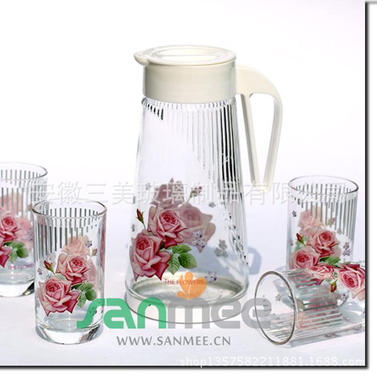 供应三美槟榔壶七件套装  色泽鲜亮花朵图案凉水壶