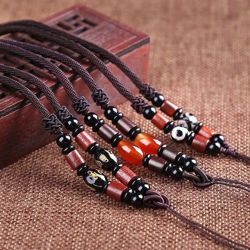 手工编织项链绳配饰天珠玛瑙 黄金吊坠 素线挂绳 绳子 diy配件