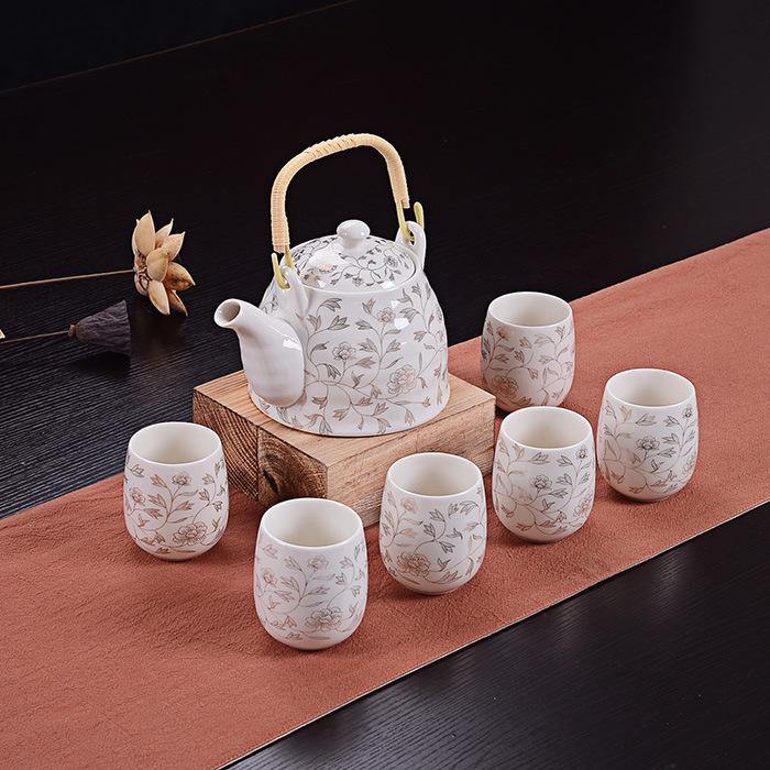 君之福陶瓷茶具 7头日式青花瓷茶杯大号带过滤网提梁壶 礼品批发