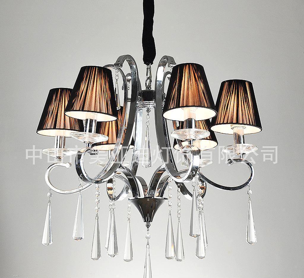 现代欧式灯 水晶吊灯 铁艺弯管现代灯 吊灯 欧式布罩灯