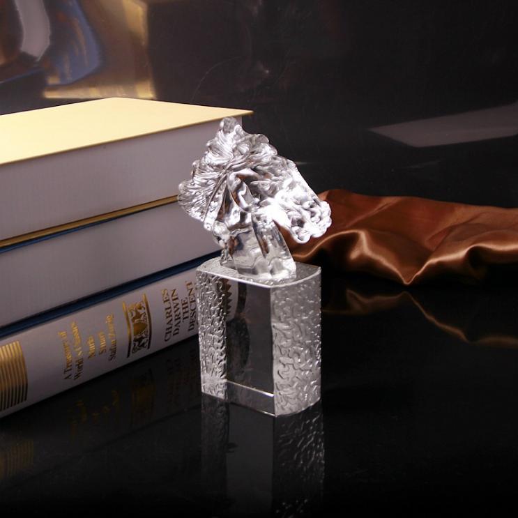 供应 创意水晶马头印章 水晶工艺品礼品摆件 水晶特色礼品