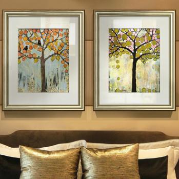 供应 抽象发财树装饰画客厅三联卧室挂画油画