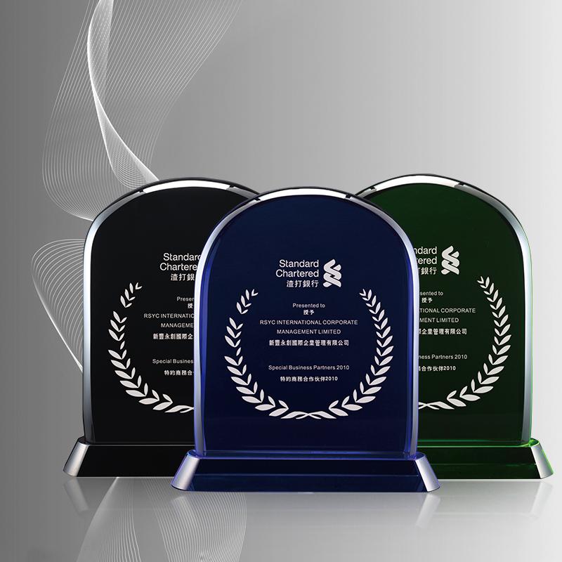 经典盾牌有色水晶奖牌厂家直销商务水晶礼品定制免费设计排版