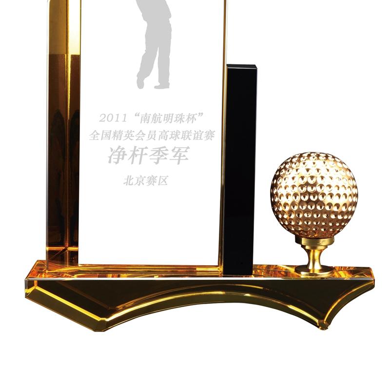 黄白拼接高尔夫净杆水晶奖杯厂家直销定制批发比赛颁奖纪念品