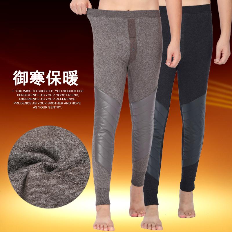 榆林三爱服饰产冬季男士加绒加厚款羊绒裤双层护膝盖男装羊毛保暖裤