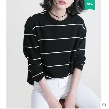 供应 减龄气质显瘦黑白条纹打底衫圆领长袖t恤女春季2018新款宽松上衣