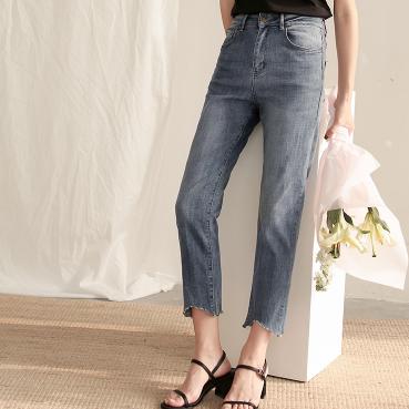 供应夏季新款韩版女士牛仔裤高腰九分小脚铅笔裤