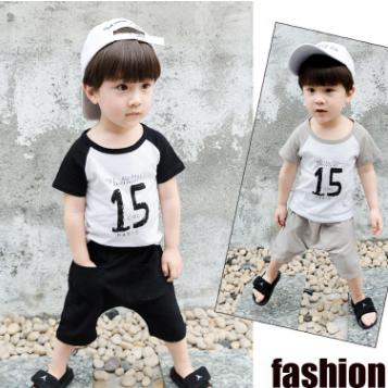 供应 男孩夏季韩版童装棉麻运动套装10字短袖两件套