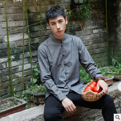 中国风亚麻男装长袖衬衫棉麻改良立领休闲衬衣宽松春秋款外套