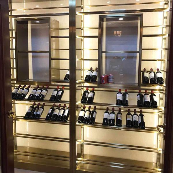 紅酒儲藏柜望這邊看不銹鋼定制酒架廠家