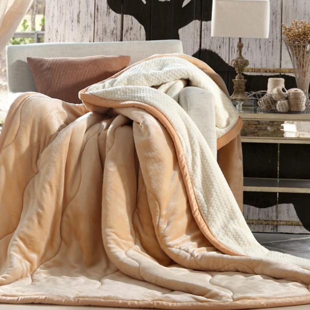 供应 毛毯被子秋冬季双层绗缝复合毛毯 菠萝格保暖法兰绒单双人盖毯
