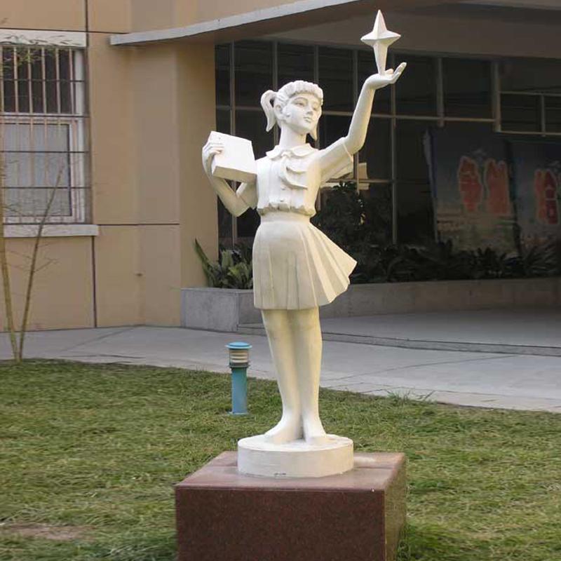 创意读书女孩人物雕塑 天然石材雕塑 户外园林风景雕塑 公园学校雕塑