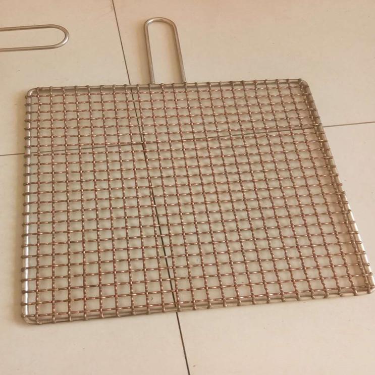 奧科廠家定做圓形不銹鋼燒烤網 易攜帶方形帶把手燒烤夾 韓式銅絲不粘燒烤網