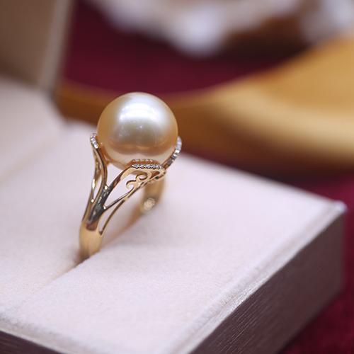 珠还合浦海水珍珠戒指南洋金珠11mm戒指配18K金